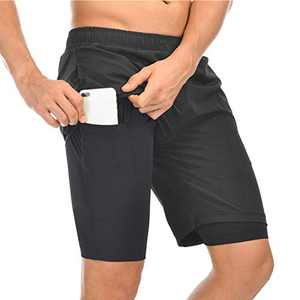 TMEOG Men Shorts, 2 in 1 Men's Running Athletic Shorts with Back Zipper Pocket Quick Dry Shorts, Breathable Double Layer Workout Gym Pants with Built-in Pocket (Black, EUR XXL= US XL)