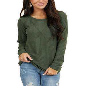 Women's Waffle Knit Long Sleeve Round Neck Tunic Tops with V Stitch Green M
