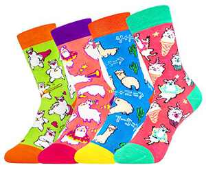 Girls Kids Funny Novelty Crew Socks Cute Animal Cartoon Unicorn Flamingo Dog Cat Llama (Llama)