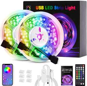 LED Strip Lights , 5050 SMD Bluetooth RGB LED Lights Music Sync Color Changing Bedroom Lights 32.8ft with Remote 44 Keys app Control , USB Strip Lighting , Home Decoration , DIY Decoration, Kitchen