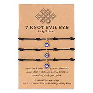 YELUWA 3 Pcs Evil Eye Bracelets Black Protection Ojo Turco Kabbalah Nazar Amulet Handmade Jewelry Adjustable for Women Men Girls Boys Family Friendship Lucky 7 Knots Strings Gifts for Christmas