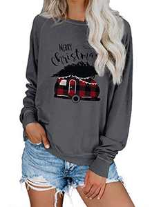 Zecilbo Womens Xmas Funny Casual Cute Oversized Blouses Christmas Long Sleeve Pullover Tunics Gray, Large