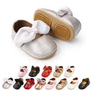 Infant Baby Girl Shoes Soft Sole Bowknot Princess Mary Jane Shoes Toddler Walking Shoes Prewalkers Wedding Dress Shoes