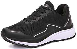 KUBUA Women's Road Running Shoes Arch Supportive Breathable Sneakers Black White