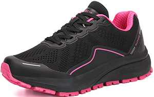 KUBUA Women's Road Running Shoes Arch Supportive Breathable Sneakers Black Pink