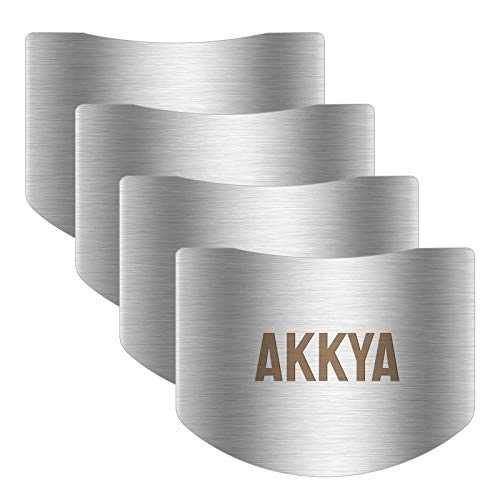 Akkya Finger Guards for Cutting Stainless Steel Finger Protector for Knife Cutting Kitchen Tool Finger Guard for Food Chopping Cutting Avoid Hurting 4 Pack