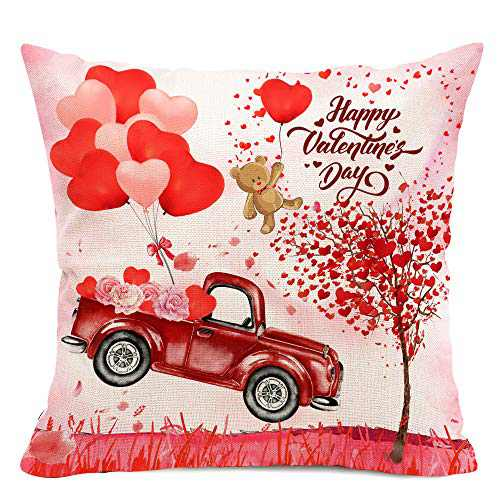 Hexagram Truck Valentines Day Pillow Cover 18x18 inch,Red Heart Pillow Cover Farmhouse Linen Valetines Deocrations for Home Outdoor Indoor Decor