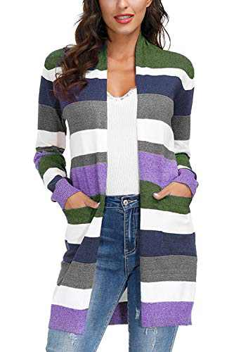 Yidarton Womens Color Block Striped Draped Kimono Cardigan Long Sleeve Open Front Casual Knit Sweaters Coat Soft Outwear Green L