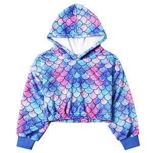 Girl Blue Mermaid Sherpa Hoodie Winter Warm Top Long Sleeve Pullover Fleece Lined Sweatshirt 10 11