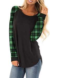 Zecilbo Womens Striped Crewneck Long Sleeve Shirts Plaid Christmas Casual Tunics Green, X-Large