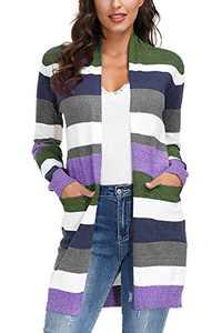 Yidarton Womens Color Block Striped Draped Kimono Cardigan Long Sleeve Open Front Casual Knit Sweaters Coat Soft Outwear Green XL