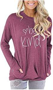 Womens Cute Printed Graphic Fit Soft Comfy Casual Long Sleeve Crew Neck T shirts Sweatshirt Blouse with Pockets Wine Red S