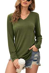 Twotwowin Women's V Neck T Shirts Casual Basic Cotton Tee Tops