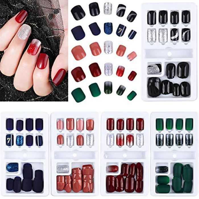 Natural False Nails, 150 PCS Fake Nail Tips Short Press on Nail Tips Acrylic Full Cover Nails Set for Girls Women, 5 Style