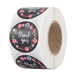 """Mangsen 1.5"""" Round Floral Thank You Stickers Flower Black Paper Adhesive Labels for Shopping Small Business Shop Roll of 500 Stickers for Packaging"""