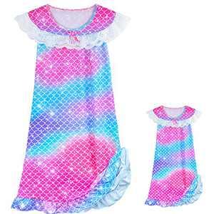 PASHOP Girls Nightgowns Matching Doll & Girls Nightgown Toddler Unicorn Mermaid Pajamas Sleepwear