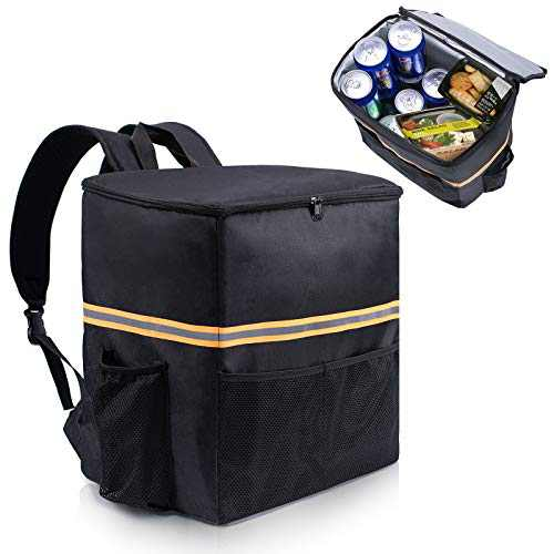 ISFCInsulated Food Delivery Bag - Large ThermalPizza Delivery Bag w/Cup Holders Waterproof Insulated Commercial Catering Food Warmer Delivery Bag Backpack for Uber Eats Doordash Restaurant Camping Groceries