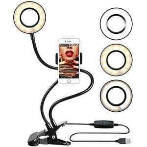 Selfie Ring Light with Cell Phone Holder, 3 Light 10 Level Brightness, Adjustment Selfie Ring Light for Live Stream & Makeup in YouTube, Facebook,Twitter, Compatible with iPhone 8 7 6 Plus X Android