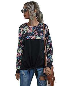 Romwe Women's Floral Print Knot Front Tops Long Sleeve Casual T Shirts Tee Floral Black L