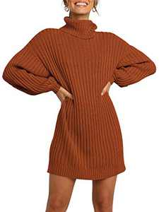 Margrine Women's Turtleneck Wool Soft Lightweight Winter Warm Knitted Loose Long Pullover Fall Sweater Dress Brown M2A40-JH-hese-XS