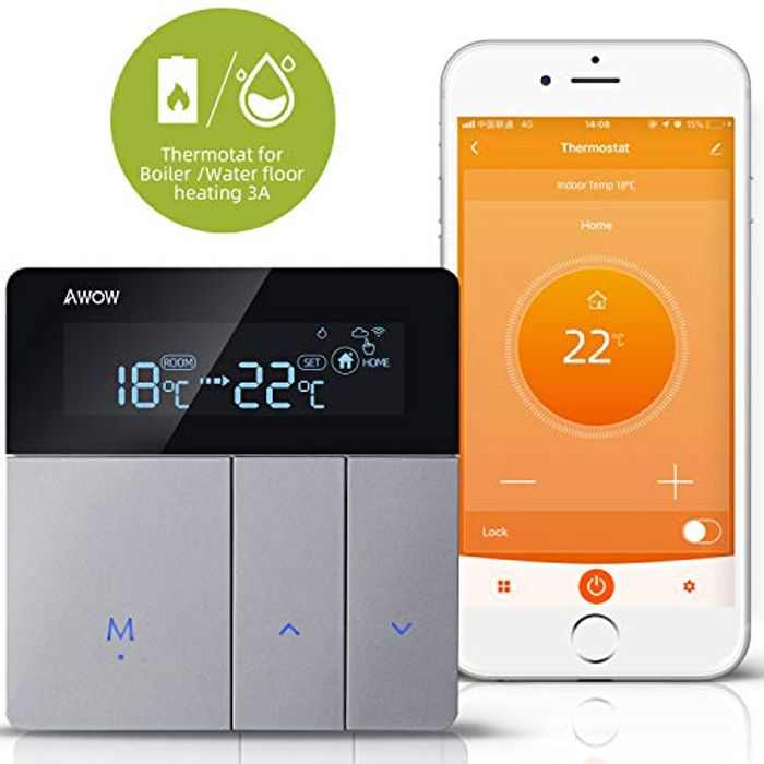 AWOW WiFi Smart Thermostat for Gas/Water Boiler Heating/Water Floor Heating,5+1+1 Programmable Smart Thermostat with LCD Display,Remote Control APP Voice Compatible with Alexa/Google Home AC220V 3A