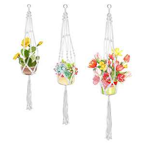 SITANES Macrame Plant Hanger Indoor Hanging Planter,3PCS Handmade Outdoor Hanging Plant Holder with Tassels No Bead Basket Stand Flower Pots for Decorations(4 Legs,3 Sizes)