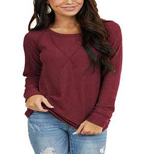 Women's Waffle Knit Long Sleeve Round Neck Tunic Tops with V Stitch Wine Red M