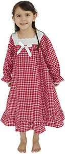 Girl Holiday Nightgown, Long Vintage Cotton Pajama Dress for Girls 2T-14 Years