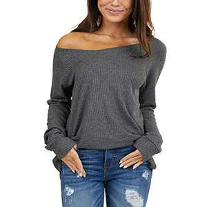 Women's Waffle Knit Long Sleeve Round Neck Tunic Tops with V Stitch Grey XL