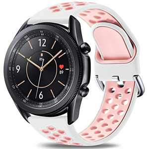 Easuny Sport Band Compatible for Samsung Galaxy Watch 3 45mm/Galaxy Watch 46mm /Samsung Gear S3 Frontier, 22mm Quick Release Silicone Breathable Watch Strap Accessories, White/Pink Small