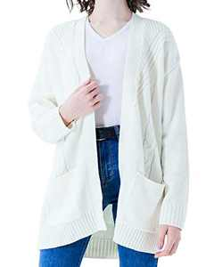 SOFTYPICAL Women's Long Sleeve Cable Knit Cardigan Open Front Sweaters Loose Outerwear Coat with Pockets White M Size