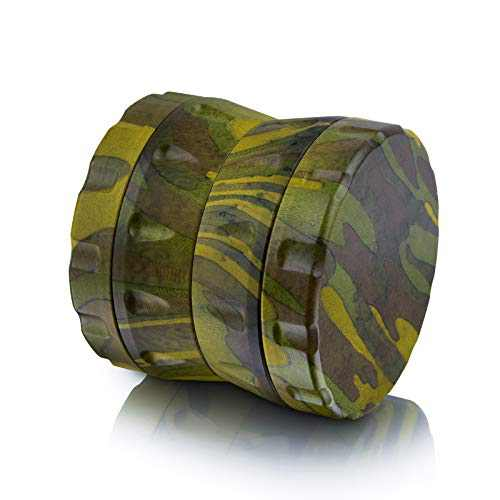 Herb Grinder, Aerial-Specification Aluminum Alloy With Camouflage Painted Wooden Shell, 2.5'' Standard Capacity