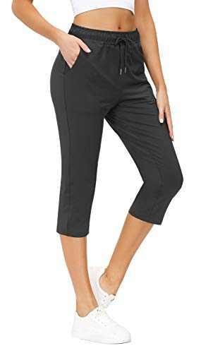 Yidarton Womens Yoga Pants Wide Leg Out Pocket Sport Capri Pants Drawstring Comfy Loose Lounge Workout Pants Dark Grey