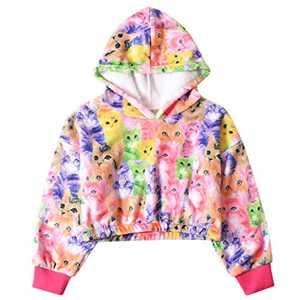 Girls Rainbow Sherpa Hoodie Long Sleeve Winter Top Warm Coat Fall Fleece Pullover Cat 6t 7t