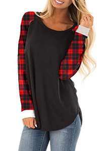 Zecilbo Womens Striped Christmas Cute Casual Shirt Tops Plaid Crewneck Long Sleeve Blouses Black, XX-Large