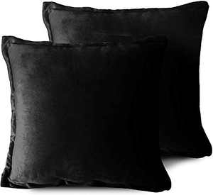 EIUE Soft Velvet Throw Pillows,Set of 2 Home Decor Decorations Square Couch Cushion with Polyester Stuffing for Sofa Bed Chair Office and Travel Car (Black, 18 x 18)