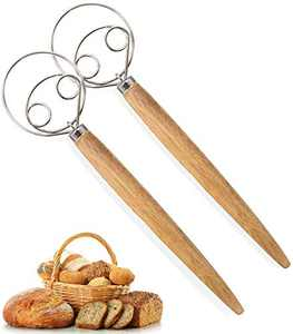 Adhjito 2pcs Dutch Dough Whisk Bread Mixer - 13.5in Premium Stainless Steel Danish Dough Whisk with Wooden Handle Mothers Day Gift