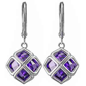 14K Gold Plated Purple Cubic Zirconia Inlaid with Multi Crystal Drop Shaped Clip Earrings