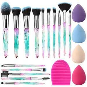 Makeup Brush Set Glamour Gaze 15Pcs Crystal Handles Makeup Brushes Sets Eyeshadow Eyebrow Foundation Brush Set With Makeup Sponge Blender Beauty and Brush Egg