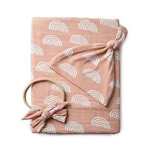 100% Organic Cotton Muslin Baby Swaddle Blanket Set | Caramel Rainbow| Newborn Girl Unisex Neutral| Boho Vintage Rainbow Baby| Matching Hat Bow |
