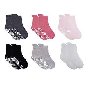 VWU Thick Cotton Socks with Grips,Baby Toddler Kids Winter Warm Socks with Terry 0-6T (Girl 6 Pack, 4-6T)