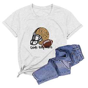 Game Day Football T Shirt Women Love You to The Endzone Tees Cute Helmet Graphic Casual Short Sleeve Tops (Light Grey#02, S)