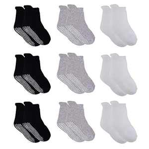 VWU Thick Cotton Socks with Grips,Baby Toddler Kids Winter Warm Socks with Terry 0-6T (Black White Grey, 3-12 Months)