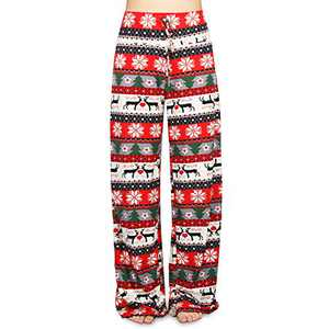 Buttery Soft Pajama Pants for Women – Floral Print Drawstring Casual Palazzo Lounge Pants Wide Leg for All Seasons (Xmas 1, XL)