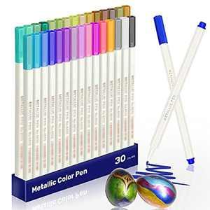 30 Colours Metallic Marker Pens, EooUooIP Premium Metallic Pens Paint Pen Marker Pens for DIY Art Crafts Card Making Scrapbooking Photo Album Glass Metal Wood Stone