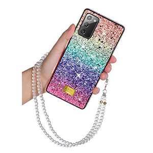 Samsung Galaxy Note 20 5G Glitter Case Bling Rhinestone Girly Luxury Sparkle Rainbow Gradual Protective Case Cover Crystal Diamond Soft TPU Bumper for Women Girls Samsung Galaxy Note 20 5G 6.7 inch