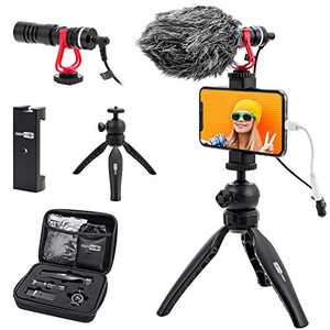 USKEYVISION Smartphone Video Microphone Kit | Vlogging Kit | Blogger Kit, with Video Microphone + Phone Holder + Mini Tripod + 360° Ball Head, Comptible with iPhone & Smartphones(VLOG K1)