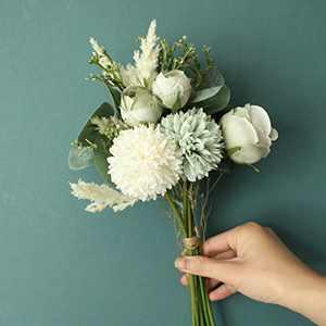 LACKINGONE Artificial Silk Flowers High Simulation Faux Bouquet with Stems, Rose Hydrangea Realistic Flower Arrangements, White Blue Yellow Fake Flowers Bouquet for Home Wedding Decoration
