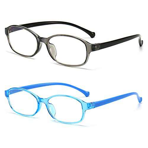 VASFAD 2 Pack Kids Blue Light Blocking Glasses, Super Lightweight TR90 Crystal Frame for Girls - Only Weight 0.42 OZ, Reduce Digital Eye Strain
