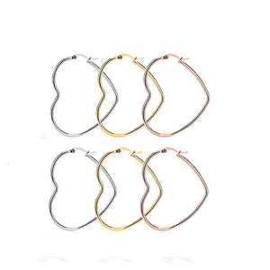 3 Pairs Hypoallergenic Stainless Steel Big Heart Shape Hoop Earrings Gold Rose Gold Set 30-60mm for Women (30)